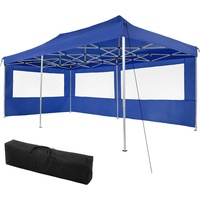 Tectake Faltpavillon 3 x 6 m inkl. 2 Seitenteile blau