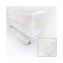 Alcube Babybett Emmi, Kinderbett Baby Bett 60x120 cm ohne Schubladen Juniorbett mit Rausfallschutz