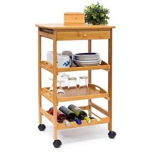 relaxdays Küchenwagen Küchenrollwagen JAMES L & Flaschenregal