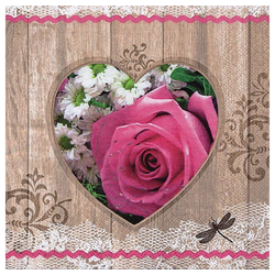 Linoows Papierserviette 20 Servietten Sommer, Herz mit Rosa Rosen und, Motiv Sommer, Herz mit Rosa Rosen und Blumen