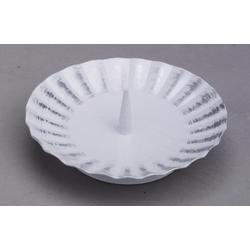 Taufkerzenhalter weiß/silber aus Eisen mit Dorn Ø 11 cm für Taufkerzen