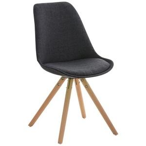 CLP Esszimmerstuhl Pegleg Stoff Rund, mit Sitzpolster und runden Holzbeinen grau