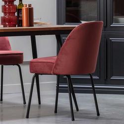 Esstisch Stühle in Rotbraun Samt Retrostil (2er Set)