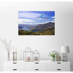 Posterlounge Wandbild, Gleitschirme über Lake Wanaka 90 cm x 60 cm