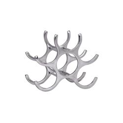 FINEBUY Weinregal FB37846, Design 24 cm für 6 Flaschen Aluminium Silber