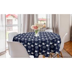 Abakuhaus Tischdecke Kreis Tischdecke Abdeckung für Esszimmer Küche Dekoration, Navy blau Maritime Anchor Wal