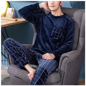 7°MR Pyjama für Herren, warm, aus Flanell, Winter, dick, langärmelig, lässiger Pyjama, Herren, Winter-Fleece, Nachtwäsche, XXXL (Farbe: A, Größe: L)