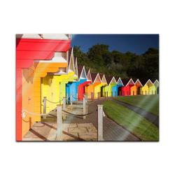 Bilderdepot24 Glasbild, Glasbild - Bunte Strandhütten in Grossbritannien 80 cm x 60 cm