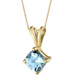 Zarte Halskette in 585 Gold mit Aquamarin-Anhänger Elbyrta