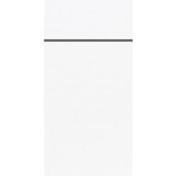 DUNI Duniletto-Slim Bestecktasche, Serviettentasche aus hochertigem Material, Maße: 40 x 33 cm, 1 Karton = 4 x 65 Stück, weiß