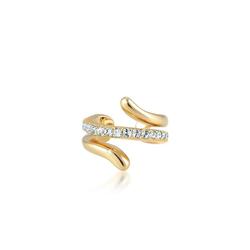 Elli Single-Ohrhaken Earcuff Twisted Kristalle 925 Silber goldfarben