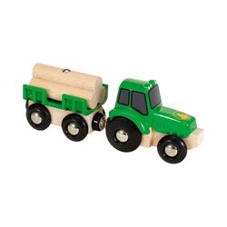 BRIO® Spielzeug-Eisenbahn Traktor mit Holz-Anhänger