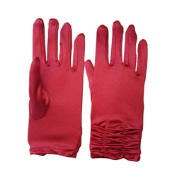 Family Trends Abendhandschuhe Satin Damen Handschuhe kurz mit Raffung dehnbar im Satin-Look rot