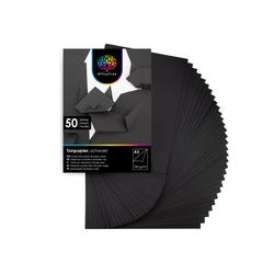 OfficeTree Bastelkartonpapier 50 Blatt Bastelpapier schwarz, Tonpapier A3 130g/m² zum Basteln und Gestalten