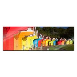 Bilderdepot24 Glasbild, Glasbild - Bunte Strandhütten in Grossbritannien 120 cm x 40 cm