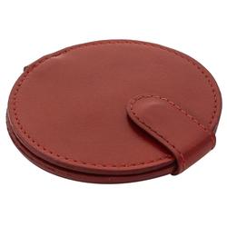 Gusti Leder Taschenspiegel Talia, Taschenspiegel Kosmetikspiegel Braun Leder rot