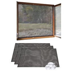 3er Set Fliegengitter für Fenster, 130 x 150 cm inkl. 6 m Klebeband