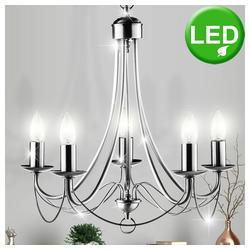 etc-shop Kronleuchter, Decken Hänge Kronleuchter Wohn Zimmer Decken Pendel Lüster Lampe silber im Set inkl. LED Leuchtmittel