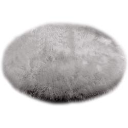 Teppich, Woltu, Faux Lammfell im edlen Retrostyle rund grau