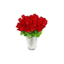 Künstliche Zimmerpflanze Kunstrosen rot 48 Stück, relaxdays, Höhe 26 cm