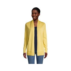 Offener Cardigan, Damen, Größe: L Normal, Gelb, Baumwolle, by Lands' End, Gelbe Buttercreme - L - Gelbe Buttercreme