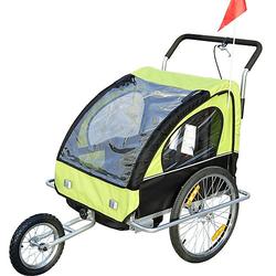 2 in1 Kinderfahrradanhänger / Jogger   Anhänger Fahrradanhänger Kinder Radanhänger schwarz/grün