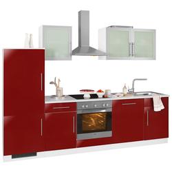 wiho Küchen Küchenzeile Aachen, ohne E-Geräte, Breite 280 cm rot
