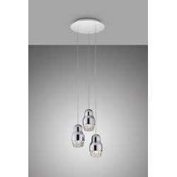 Traumhafte dreiflammige LED-Hängeleuchte Fedora Axo Light chrom