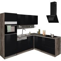 Held MÖBEL Winkelküche Virginia, mit E-Geräten, Stellbreite 230/190 cm schwarz