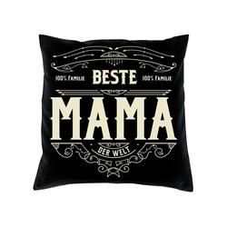Soreso® Dekokissen Kissen Beste Mama & Urkunde, Geschenke für Mütter Geschenkidee schwarz