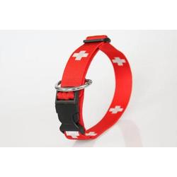 Hundehalsband SWISS | Schweizer Kreuz | Zugentlastung | 30 mm bis 50 cm Umfang