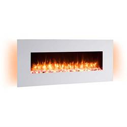 RICHEN Elektrokamin Yoash, RICHEN Elektrokamin Yoash - Wandkamin mit Heizung, 3D-Flammeneffekt & Fernbedienung - Weiß, 550 x 1280 x 139