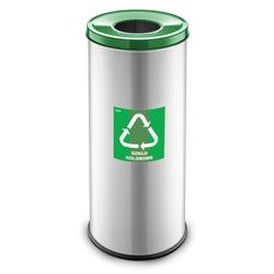 Mülleimer für mülltrennung, 45 l, silberfarben, glas
