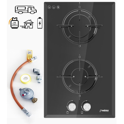 Phönix Domino-WGL Wohnmobil Gaskochfeld Glas Einbauherd Gaskocher 2 flammig, Propan-/ Erdgas + Set