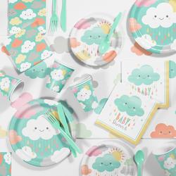 81pk Clouds Party Supplies Kit Disposable Dinnerware Set