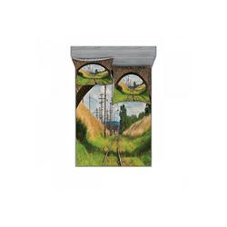 Bettwäsche bedrucktes 3-teiliges Bettwäscheset, Abakuhaus, Rustikal Brücke Eisenbahn Tranquil 180 cm x 200 cm