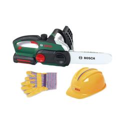 Klein Spielwerkzeug Bosch Kettensäge mit Helm und Handschuhen