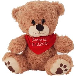 Heunec® Kuscheltier Bär, sitzend mit rotem Halstuch, mit individuell bestickbarem Halstuch