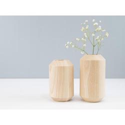kommod Dekovase TAKKS holzvasen (2 Stück), Gedrechselte Holzvasen, Design Vasen – 15 x 7 cm – Esche massiv natur