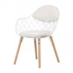 Krzesło Abdel białe na bukowych nogach