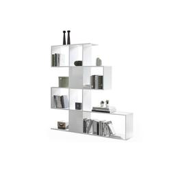 Designer-Bücherregal und Trennwand glänzend weiß lackiert H147 cm COMO