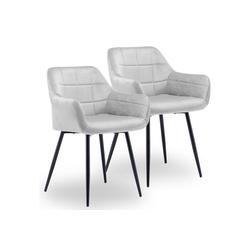 Merax Polsterstuhl Esszimmerstuhl mit Rückenlehne, Sitzfläche aus Samtstoff grau