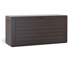 Deuba Auflagenbox Woody, Auflagentruhe Stecksystem Griffmulden Abschließbar Kissenbox Gartenbox Gartentruhe Gartenmöbel Box Holzoptik Braun