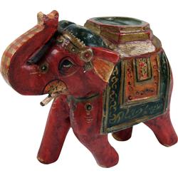 Guru-Shop Dekofigur Deko Elefant aus Indien, bemalte, indischer.. rot