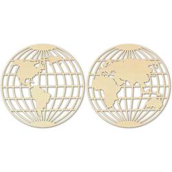 Holzkunst Pappel - Weltkarte - Globus (2-teilig), ø 58 cm