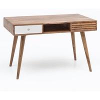 Wohnling Schreibtisch REPA weiß 120 cm Massiv Holz Laptoptisch Sheesham Natur Bürotisch PC-Tisch