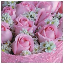 Linoows Papierserviette 20 Servietten, Alicia Rose im Gesteck, Rosen in, Motiv Alicia Rose im Gesteck, Rosen in zartem Pink