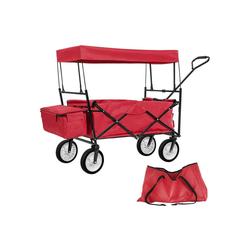 tectake Bollerwagen Faltbarer Bollerwagen mit Dach und Tragetasche rot