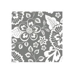 Vliestapete Grafik - Blumen, (1 St), Grau - 10m x 52cm