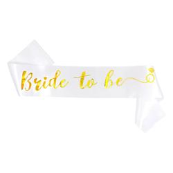 Schärpe Bride To Be JGA Junggesellinnenabschied Hen Party Ring weiß